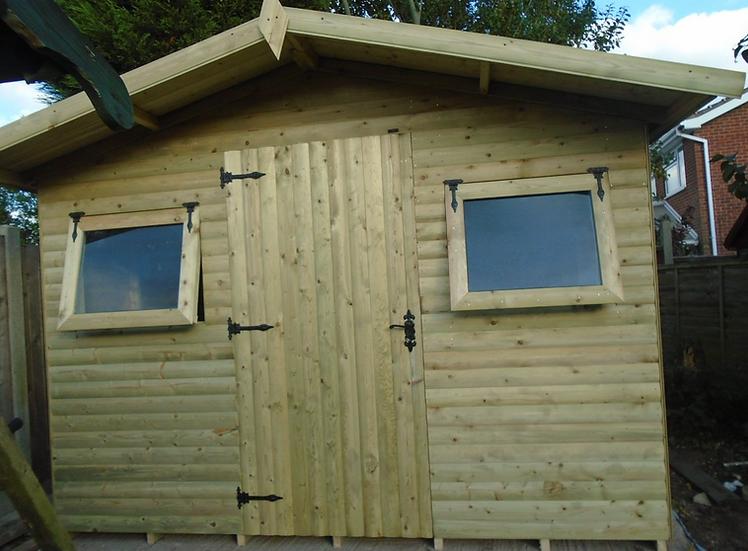 12' x 10' Tanalised 19mm t&g loglap heavy duty shed opening windows & work bench