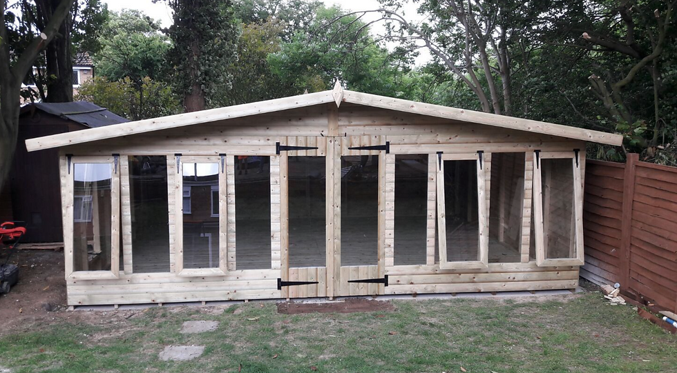 "20'x16' Tanalised 19mm t&g loglap summerhouse reverse apex+18"" canopy+6xopeners"