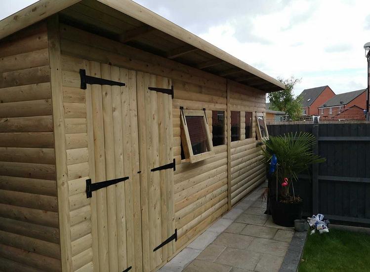 "20'x8' Tanalised 19mm t&g loglap heavy duty summerhouse PENT inc 18"" canopy"