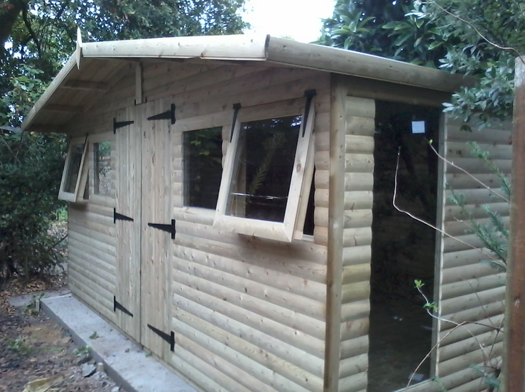 "14'x8'' Tanalised 19mm t&g loglap summerhouse/reverse apex+18"" canopy+2xopeners"