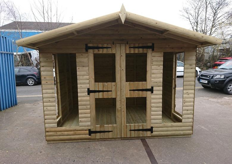 "10' x 10' Tanalised 19mm t&g loglap summerhouse inc 18"" canopy/Toughened Glass"