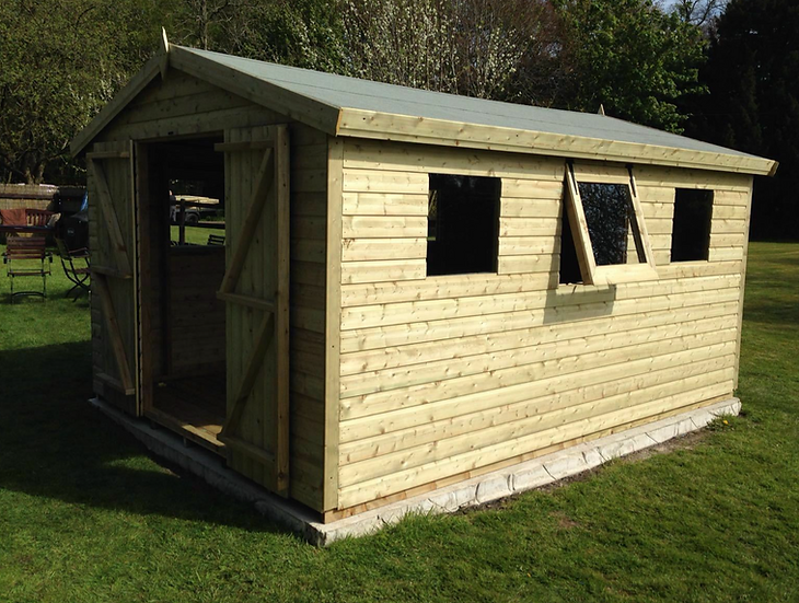 15'x10' Tanalised 19mm t&g shiplap shed heavy duty apex roof+1 x opening window