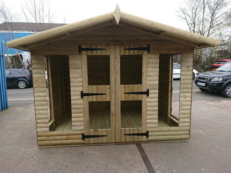 "10'x8' FULLY TANALISED 19mm t&g Loglap Summerhouse Reverse Apex + 18"" Canopy"