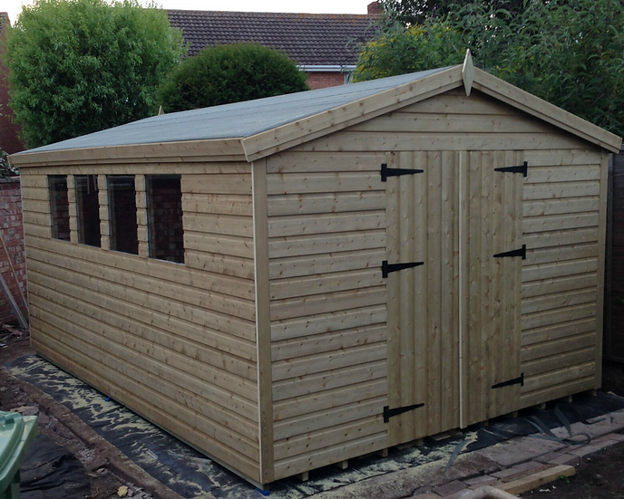 12'x10' FULLY TANALISED 13mm t&g shiplap shed apex roof/double doors/4 WINDOWS