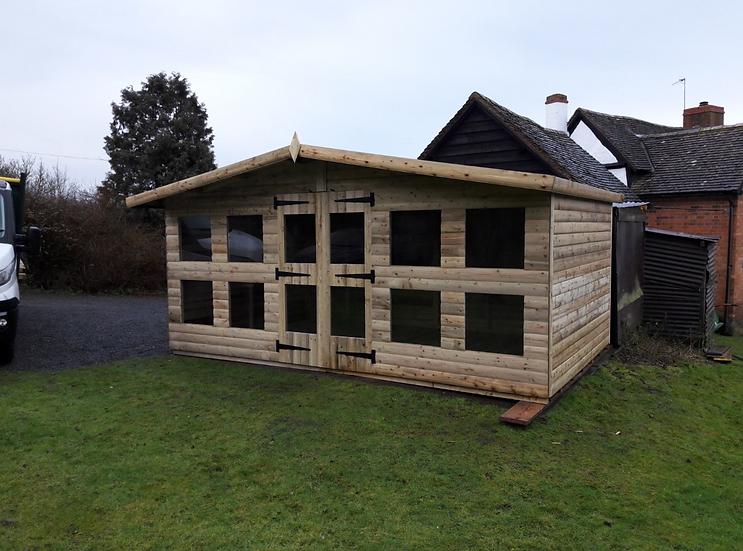 """16'x10' Tanalised 19mm t&g loglap heavy duty summerhouse reverse apex+18"""" canopy"""