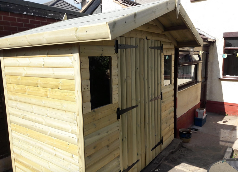 "8'x5' Tanalised 19mm t&g loglap heavy duty shed inc an addtional 18"" canopy"