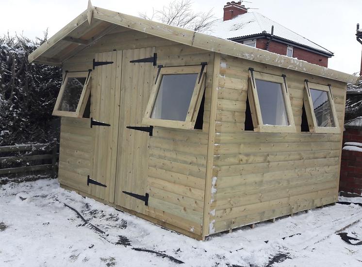 "10'x10' Tanalised 19mm t&g Loglap Summerhouse apex roof+18"" canopy + 4 x openers"