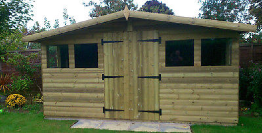 """14'x12'' FULLY TANALISED 19mm t&g loglap shed reverse apex & 18"""" canopy"""