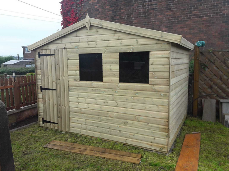 10'x8' FULLY TANALISED 13mm t&g Shiplap shed Reverse Apex Single Door/all sizes