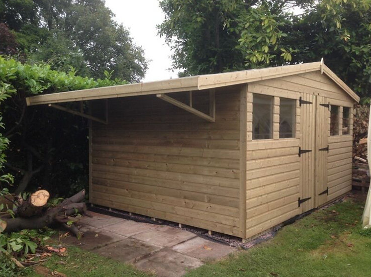 14' x 12' Tanalised 19mm t&g Shiplap Heavy Duty Shed With Log Shelter