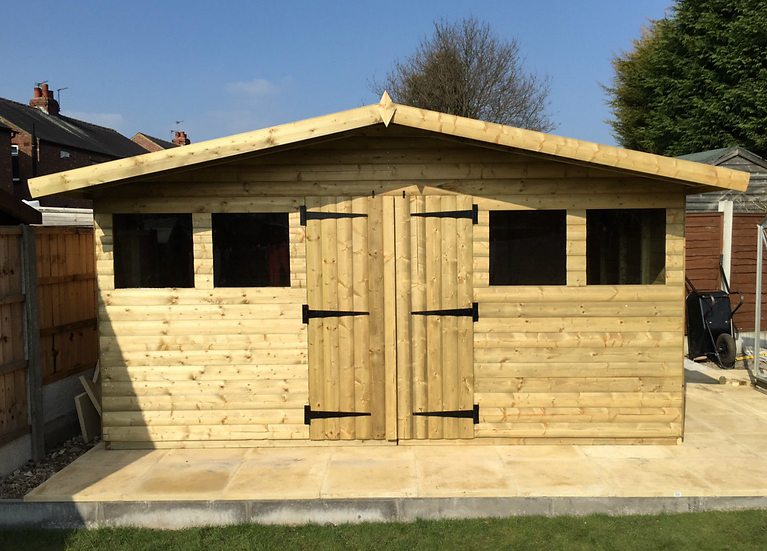 14' x 10' Tanalised 13mm t&g SHIPLAP summerhouse reverse apex + 18 CANOPY