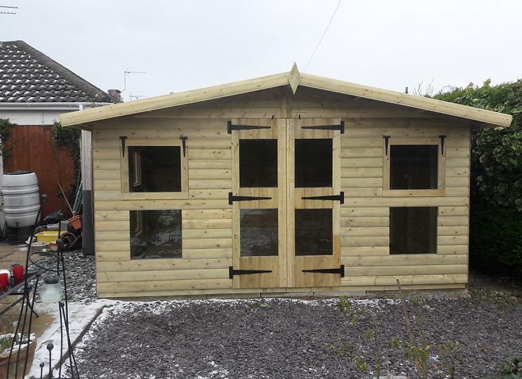 "14'X10' Tanalised 19mm t&g Loglap Summerhouse reverse apex+18"" canopy+4xopeners!"