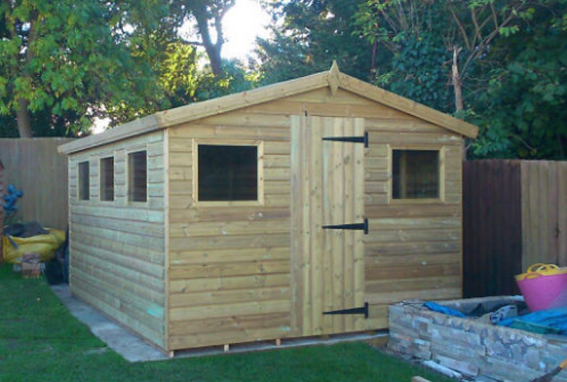 12'x10' FULLY TANALISED 19mm t&g shiplap shed apex roof + 5 FRAMED windows