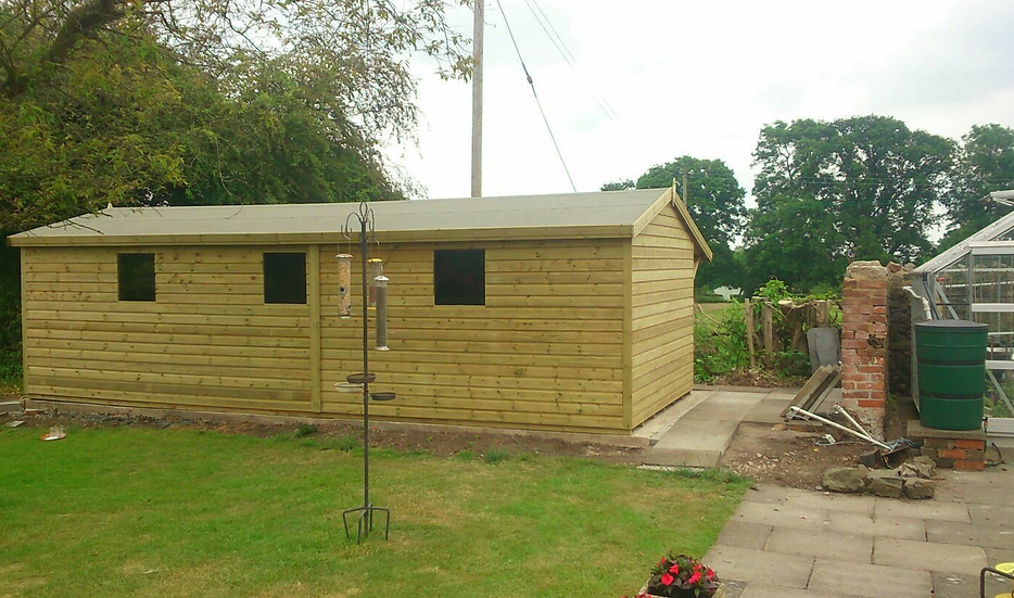 25'x10' FULLY TANALISED 19mm t&g shiplap shed Apex Roof + 3ft side canopy