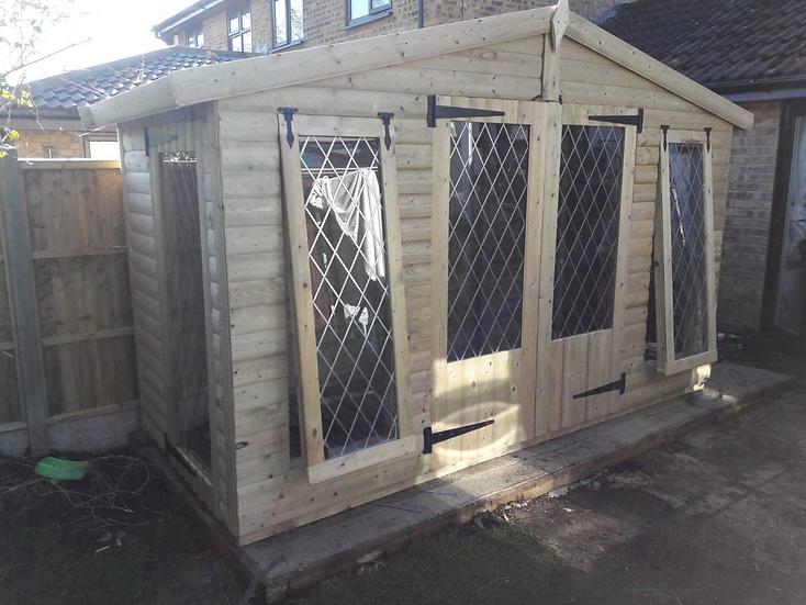 12'x5' FULLY TANALISED 19mm t&g loglap reverse apex summerhouse/sun room