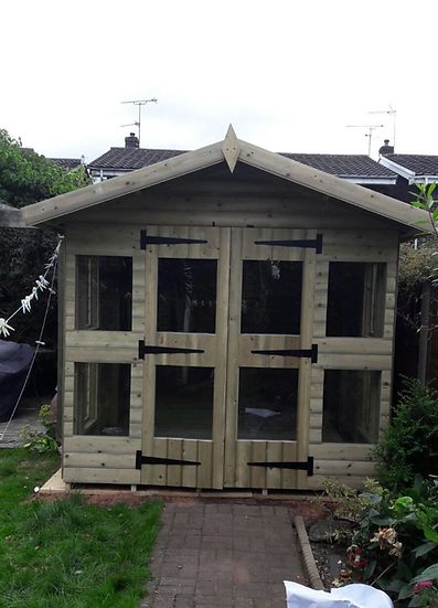"10'x8'' FULLY TANALISED 19mm t&g loglap summerhouse apex roof+18"" canopy"