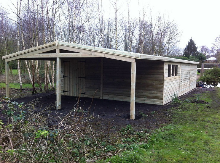 30' x 19' FULLY TANALISED 19mm t&g shiplap heavy duty shed Apex Roof+10' canopy