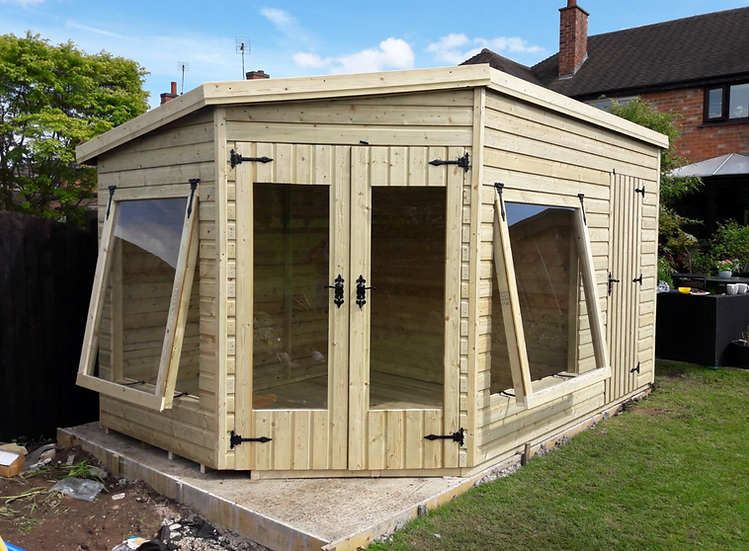 14'x8' 19mm TANALISED t&g shiplap CORNER summerhouse/shed combi, pent roof.