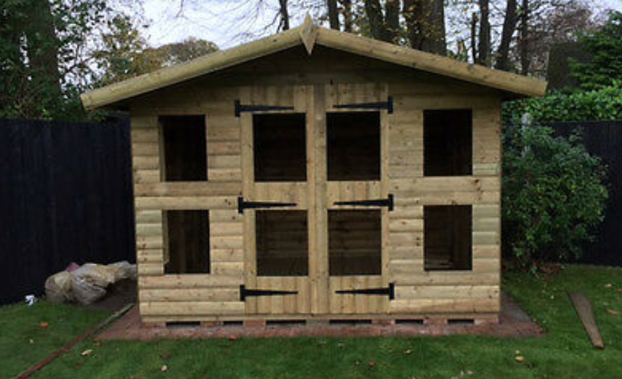 "12' x 8' 19mm t&g loglap summerhouse TANALISED reverse apex with 18"" canopy"