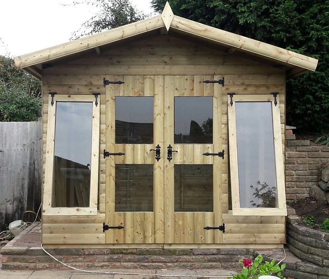 9'x7' FULLY TANALISED 13mm t&g Shiplap Heavy Duty hot tub summerhouse+3XOPENERS