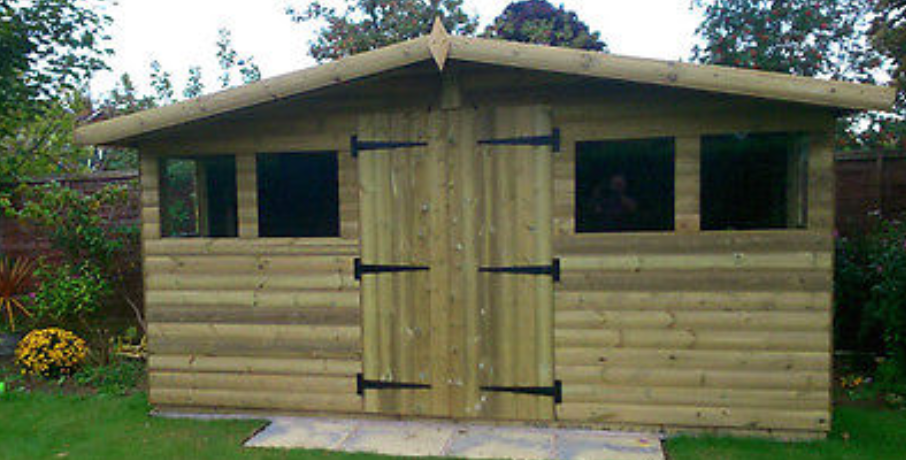 "14'x10' Tanalised 19mm t&g loglap heavy duty shed reverse apex+18"" canopy"