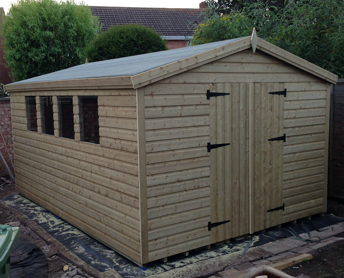 12'x10' Tanalised 19mm t&g shiplap HEAVY DUTY SHED apex roof/double doors