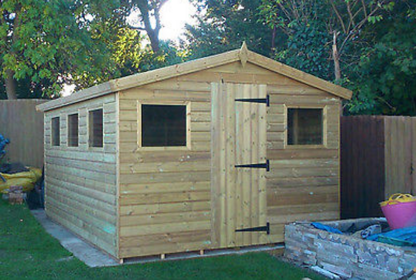 12'x10' FULLY TANALISED 13mm t&g shiplap shed apex roof + 5 FRAMED windows