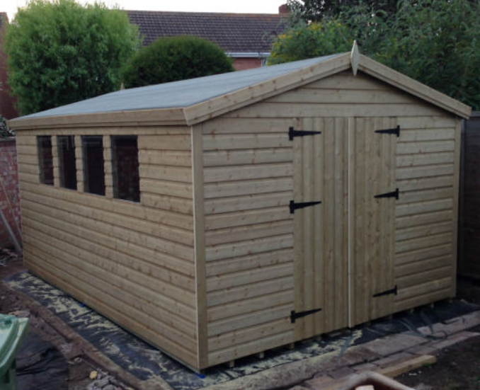 14'x10' Tanalised 19mm t&g shiplap heavy duty shed Apex Roof/double doors