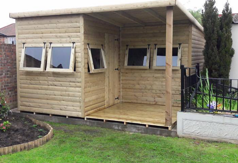 17' x 13' TANALISED 19mm t&g loglap L shape office style shed, Opening Windows.