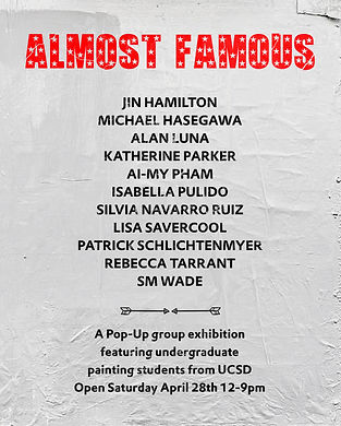 2018: almost famous (group exhibition) dxix, los angeles, painting, Reb T, Poster