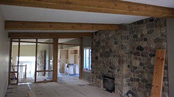 timber beams & framed wall