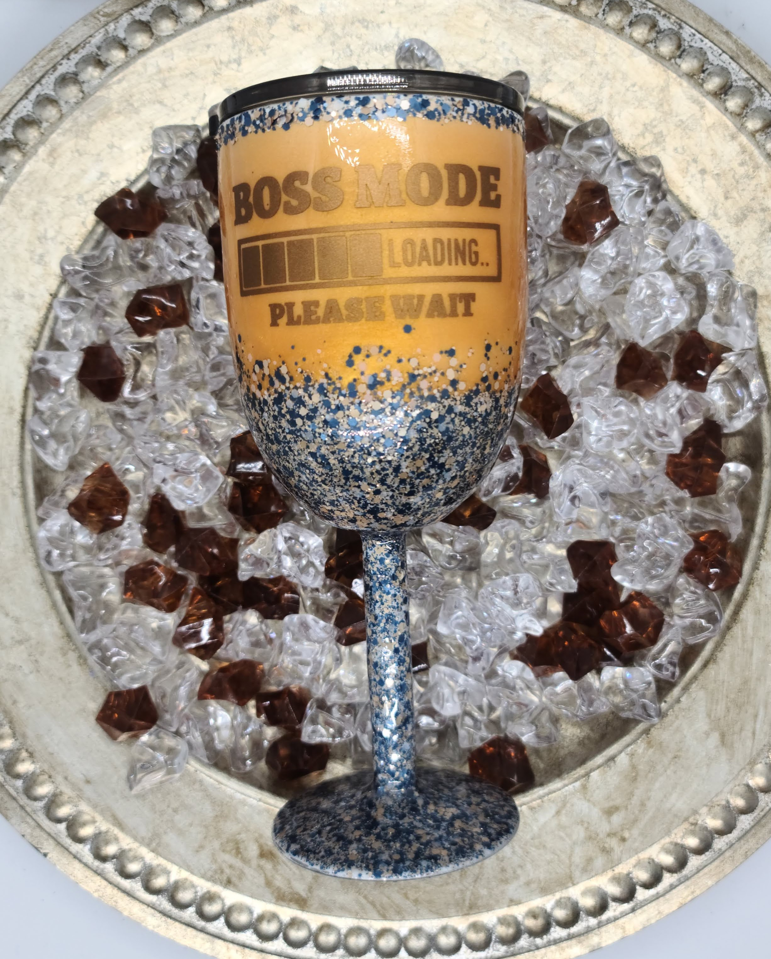 10oz Stem wine tumbler, mica base glitte
