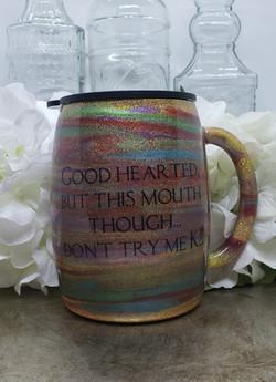 14oz coffee mug, holographic glitter bas