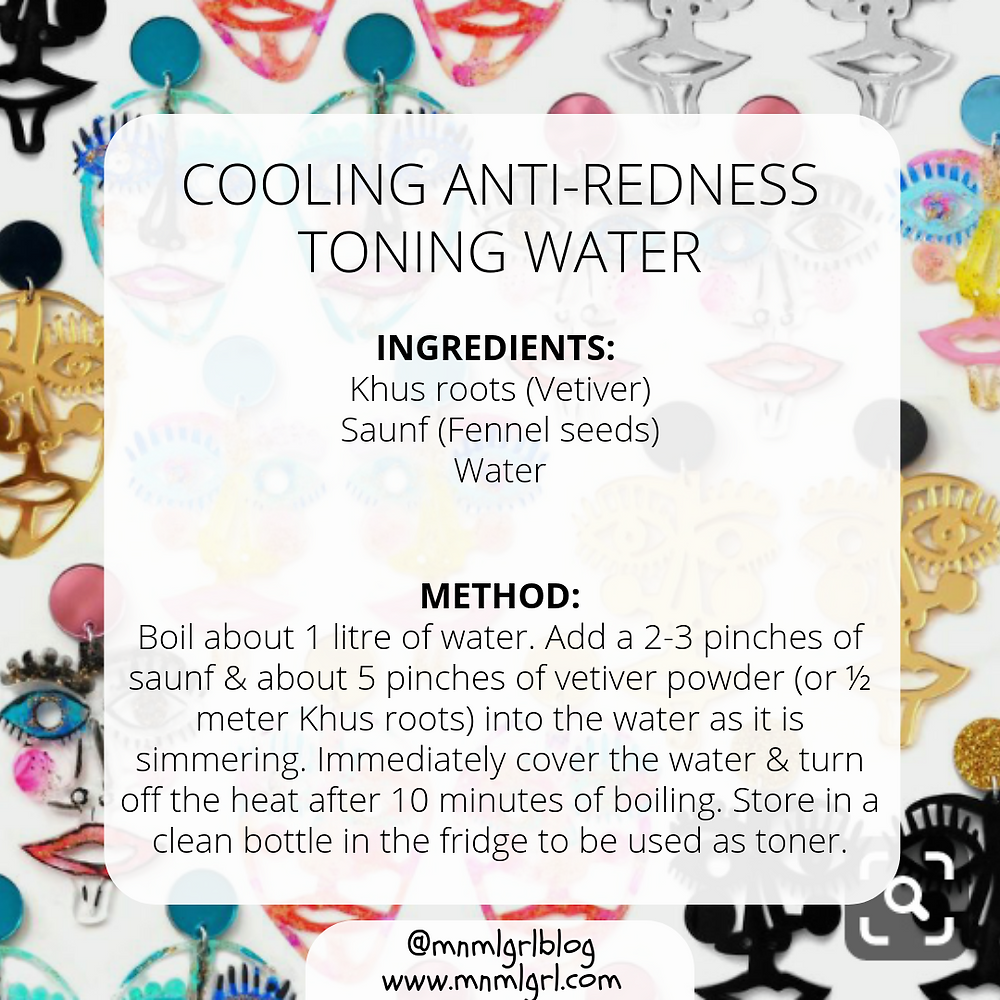 recipe card for cooling anti redness toning water zero waste diy