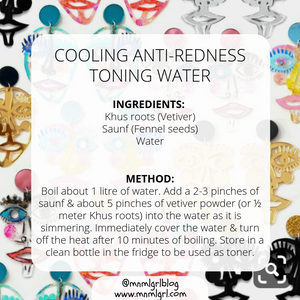 recipe card for cooling anti redness toning water zero waste diy