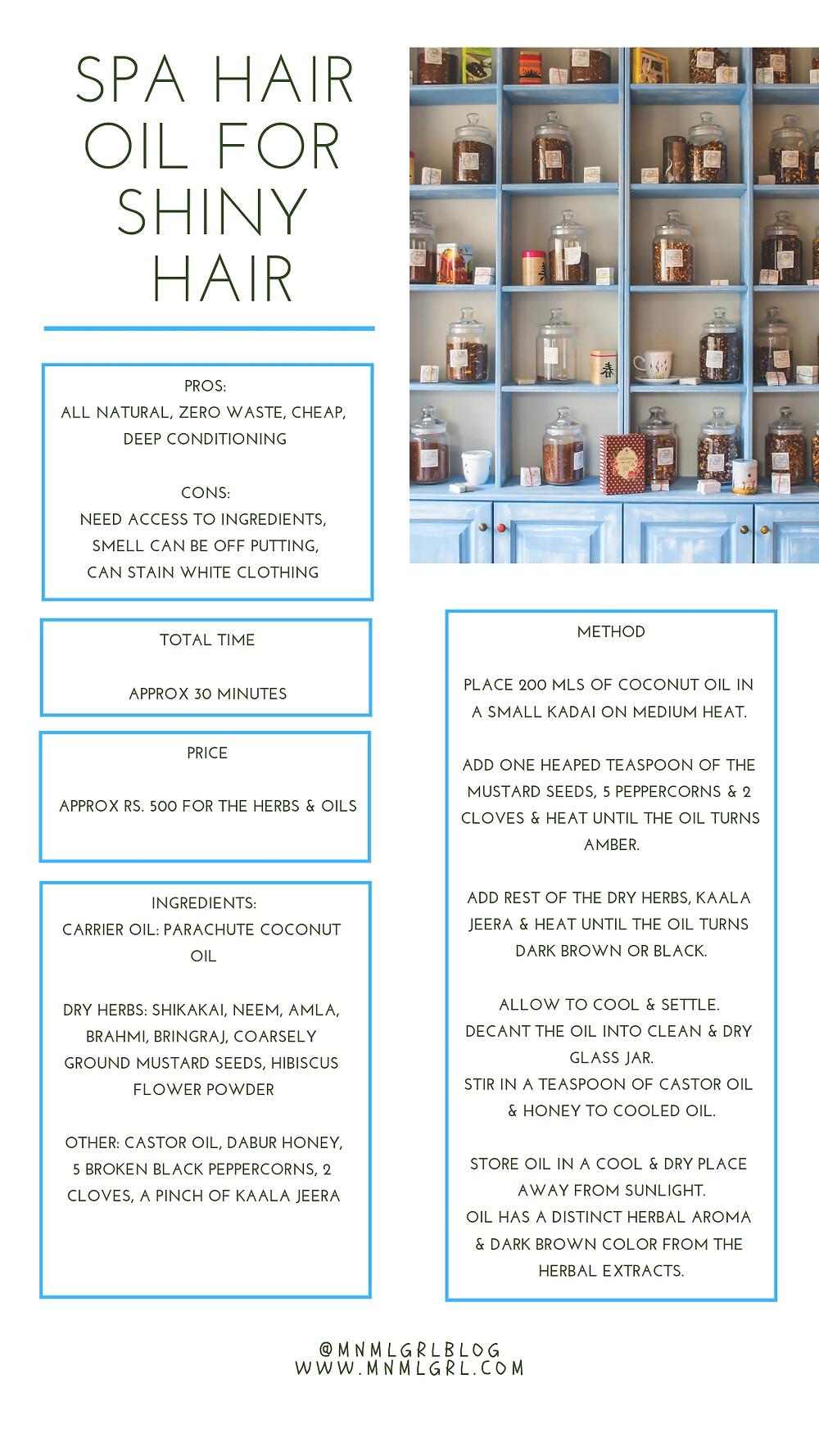 recipe card for diy spa hair oil for shiny healthy hair