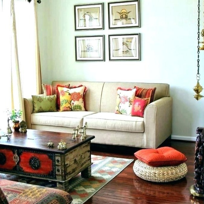 Traditional Indian interiors in muted bright colors