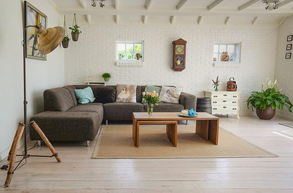 cozy minimal living room with multipurpose furniture