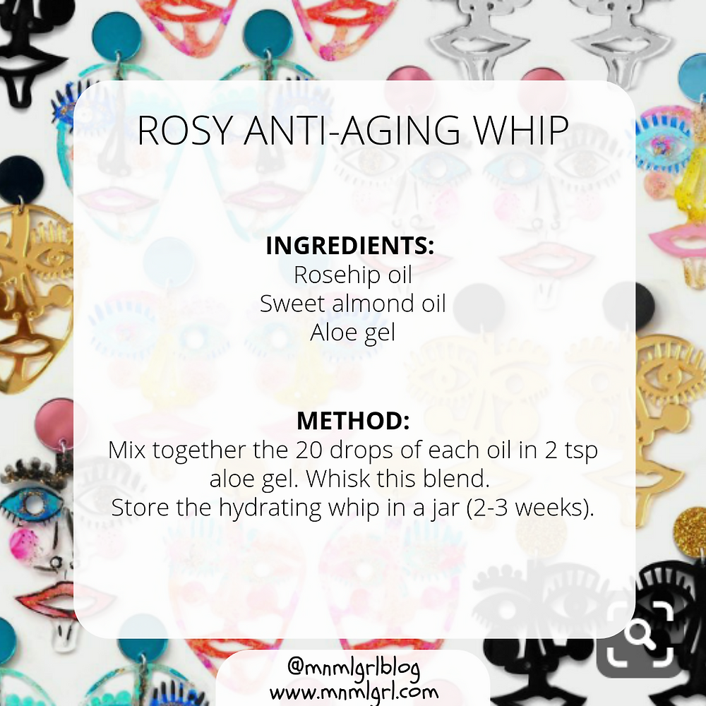 recipe card for rosy anti aging whip zero waste diy