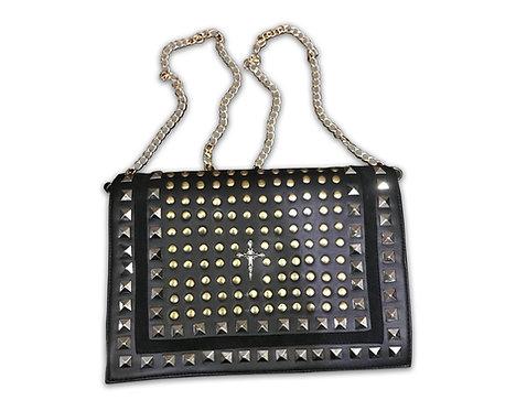 Leather Studded Rocker Clutch bag