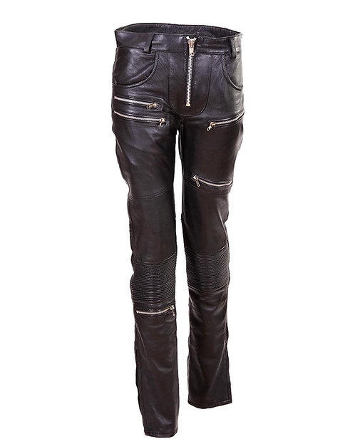 Women's Black Quilted Leather Moto Pants with Zippers