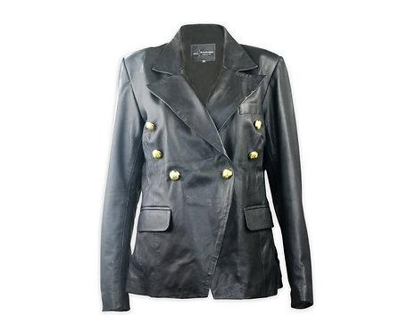 Women's Black Sheepskin Leather Blazer