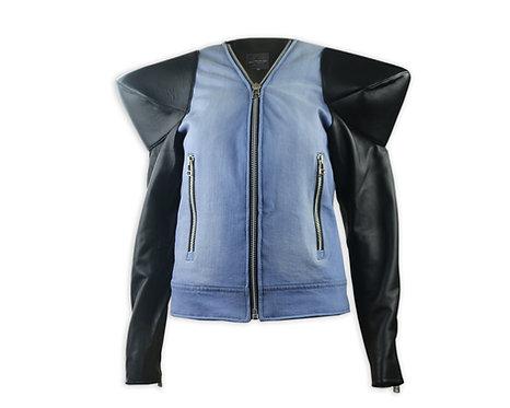 Women's Denim Zip Up Cone Leather Sleeves Jacket