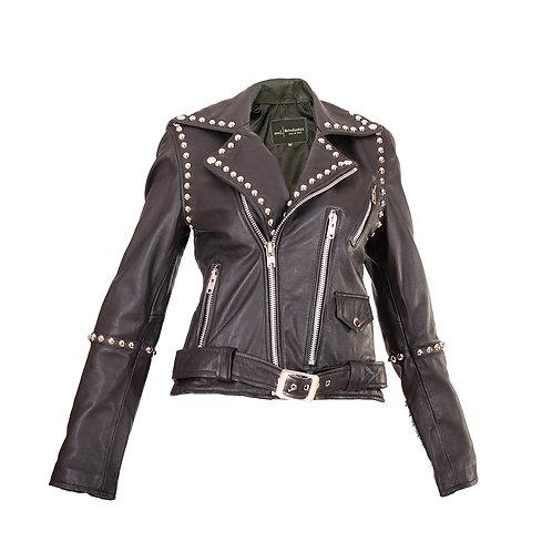 Black Studded Women's Biker Jacket