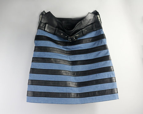 Women's Luxury Denim and Black Striped Leather Skirt with Belt