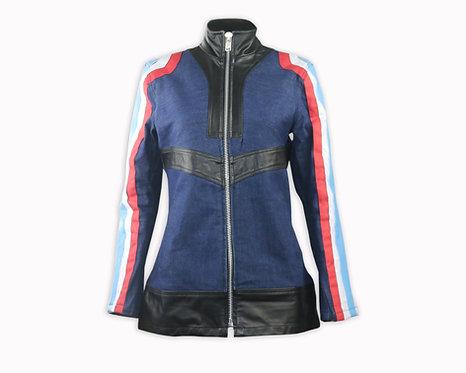 Women's Denim Leather Striped Jacket