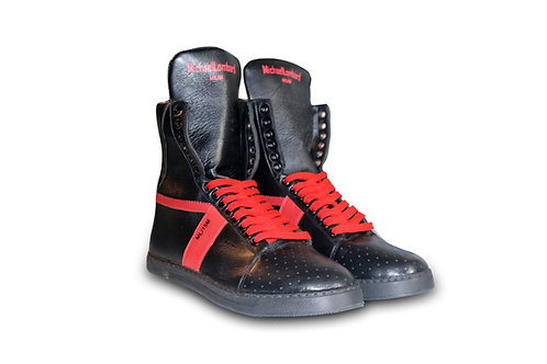 Men's Black and Red ML/15M Zipped High-Top Sneakers