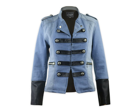 Women's Military Style Denim Jacket with Black Leather Trimming.