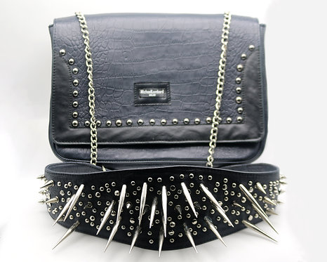 Women's Black Croc Print Leather Studded and Spiked Handbag.