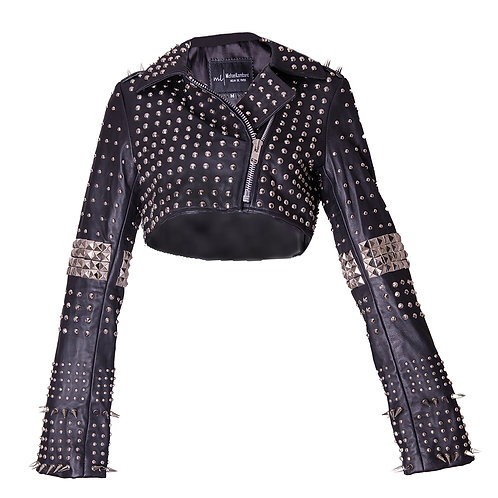 Black Studded Leather  Bolero Jacket